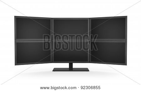 Computer Monitor Display, Isolated On The White Background.
