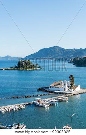 view of small island pontikonisi,Corfu,Greece