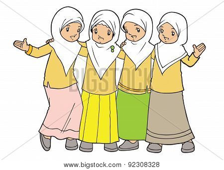 Group Of Muslim Little Girls