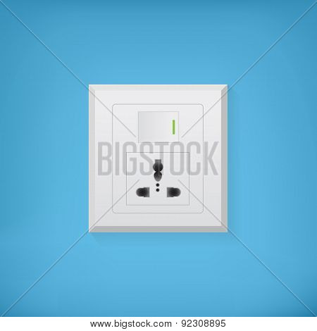 Electric socket with button