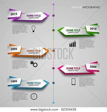 Time line info graphic with colored folded pointers