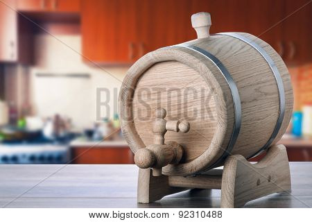 Oak Barrels On The Kitchen Table