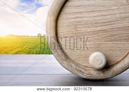 Wine Barrel On The Table