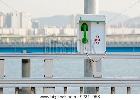 Emergency phone with a green handset