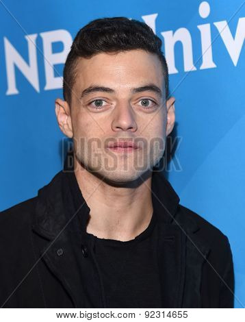 LOS ANGELES - APR 02:  Rami Malek arrives to the NBCUniversal's Summer Press Day 2015  on April 02, 2015 in Hollywood, CA
