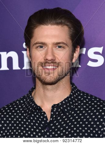 LOS ANGELES - APR 02:  Aaron Tveit arrives to the NBCUniversal's Summer Press Day 2015  on April 02, 2015 in Hollywood, CA