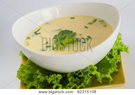 Soup With Chicken, Galanga Root And Coconut