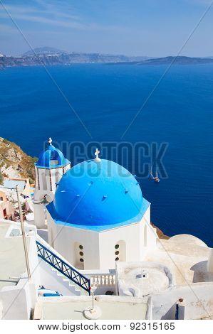 traditional blue dome with  sea, Santorini