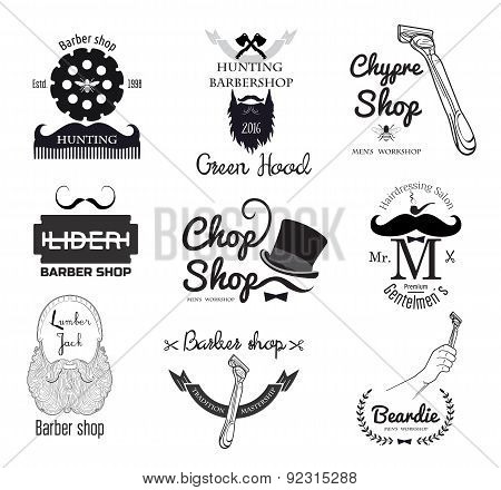 Set of retro barber shop emblems, label, badges and logos.