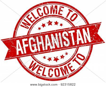 Welcome To Afghanistan Red Round Ribbon Stamp
