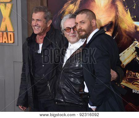 LOS ANGELES - MAY 07:  Mel Gibson, Tom Hardy & George Miller arrives to the