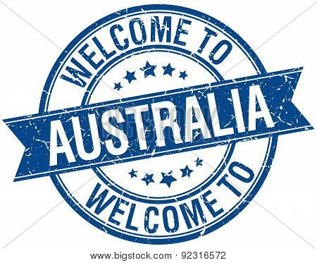 Welcome To Australia Blue Round Ribbon Stamp