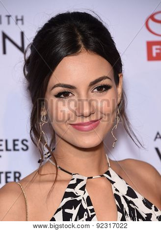 LOS ANGELES - MAY 16:  Victoria Justice arrives to the An Evening With Women  on May 16, 2015 in Hollywood, CA