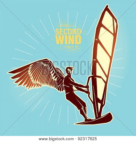 Windsurfing. Vector illustration created in topic