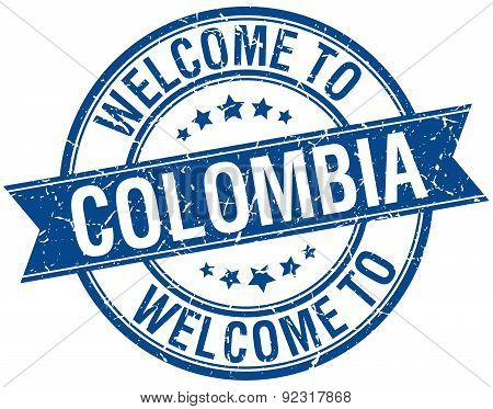 Welcome To Colombia Blue Round Ribbon Stamp