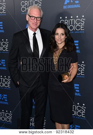 LOS ANGELES - MAY 31:  Julia Louis-Dreyfus & Brad Hall arrives to the Critic's Choice Television Awards 2015  on May 31, 2015 in Hollywood, CA