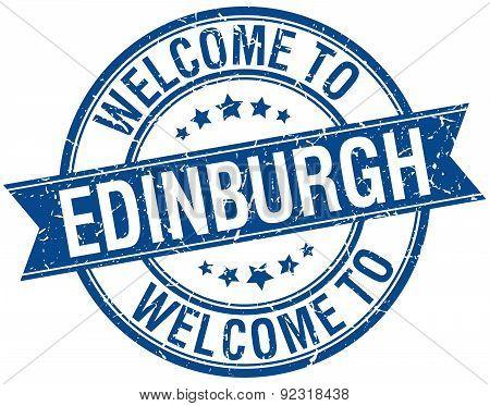 Welcome To Edinburgh Blue Round Ribbon Stamp