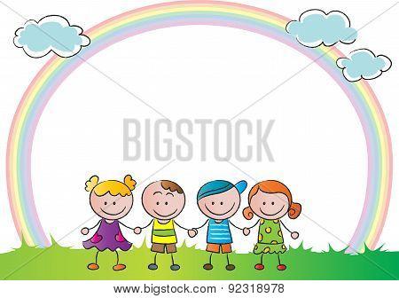 kids with rainbow backgound