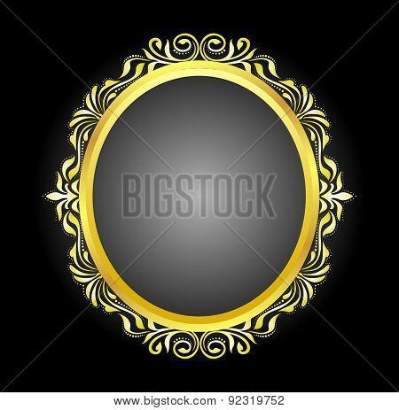 Gold Frame Oval floral
