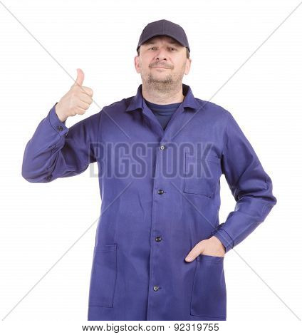Worker in blue wear with ok sign.