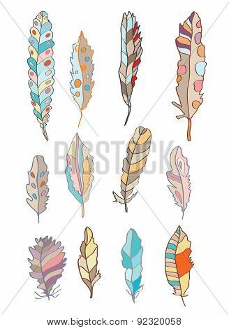 Feathers Set With Different Patterns