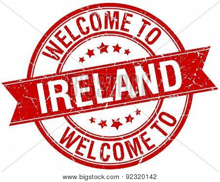 Welcome To Ireland Red Round Ribbon Stamp