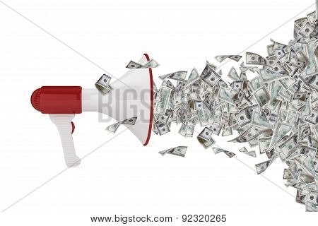Dollar Banknotes Out Of Megaphone