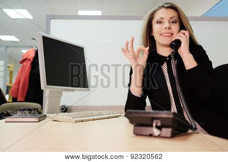 girl secretary in an office