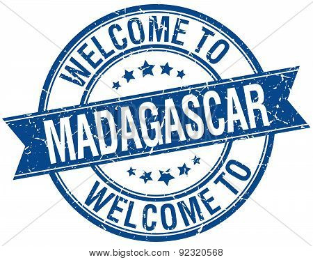 Welcome To Madagascar Blue Round Ribbon Stamp