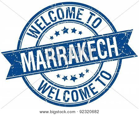 Welcome To Marrakech Blue Round Ribbon Stamp