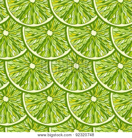 Seamless Pattern From Slice Of Ripe Delicious Limes
