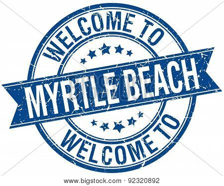 Welcome To Myrtle Beach Blue Round Ribbon Stamp