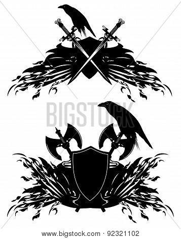 Raven Heraldic Shields