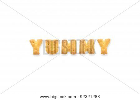The Letter Word Yummy. Alphabet  Cookie Cracker