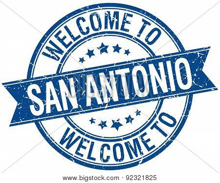 Welcome To San Antonio Blue Round Ribbon Stamp