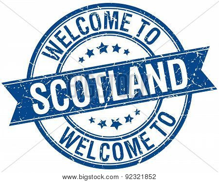 Welcome To Scotland Blue Round Ribbon Stamp