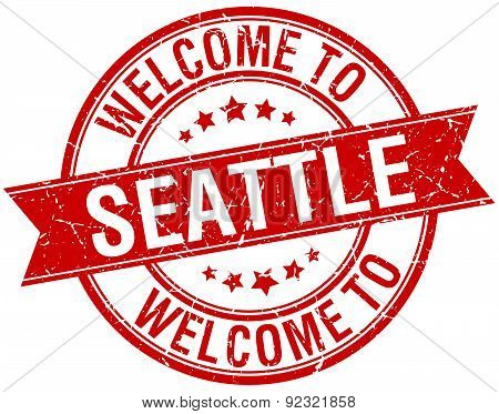 Welcome To Seattle Red Round Ribbon Stamp