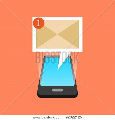 Smartphone New Message Received Concept. Isometric Design.