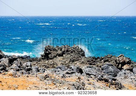 Black Rock On Beach
