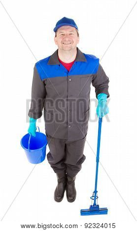 Man with bucket and mop.