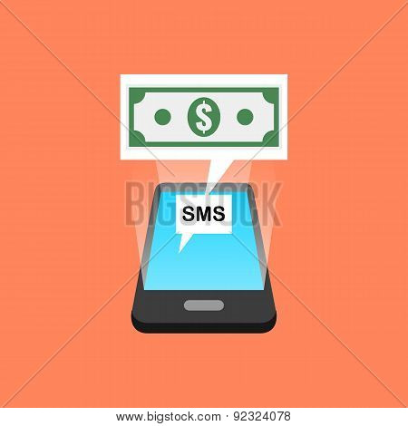 Smartphone Sms Transaction Concept. Isometric Design.