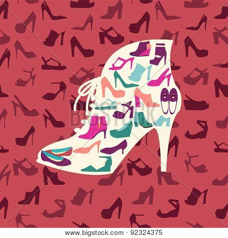 Fashion Footwear Background And Icons Set. Vector Illustration