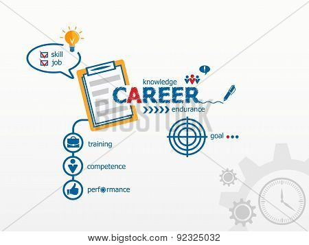 Career concept and notebook for efficiency creativity intelligence.
