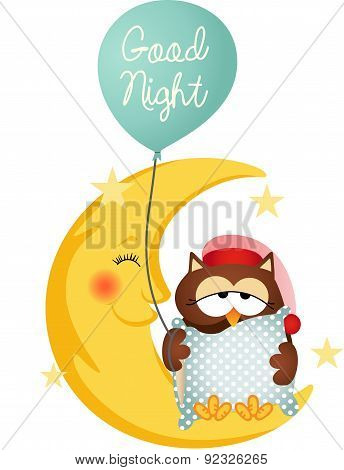 Good night owl holding a balloon