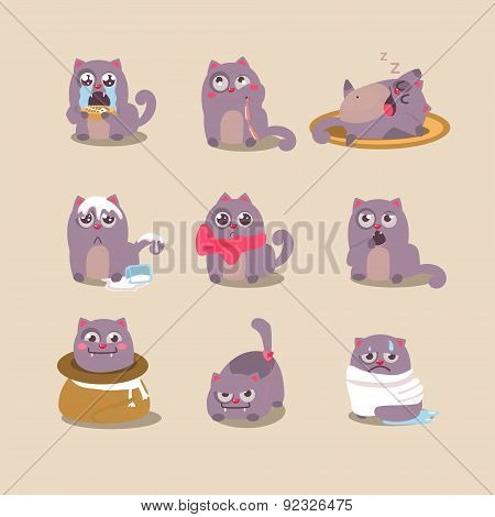 Set Of Cute Cartoon Cat In Various Poses