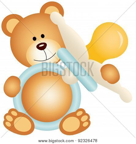 Teddy bear boy holding blue baby pacifier