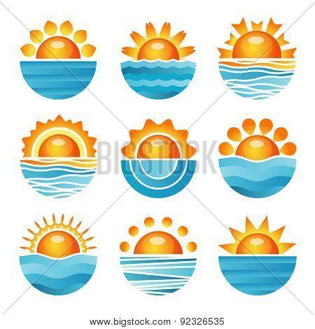 Sunset icons set