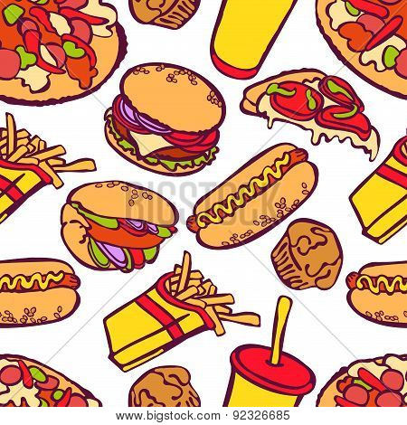 Fast food. Vector seamless illustration