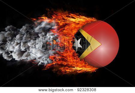 Flag With A Trail Of Fire And Smoke - East Timor