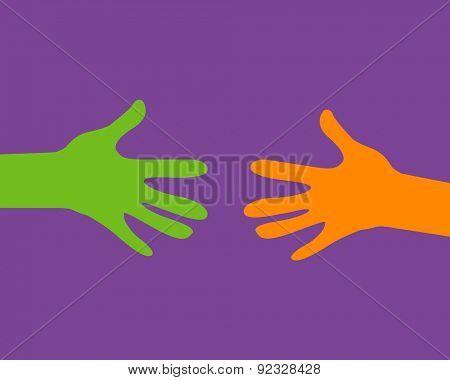 stylized diverse hands, help concept